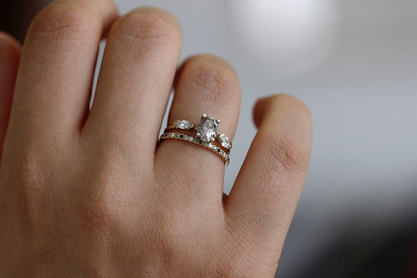 Oval Diamond Ring In A Set On Finger