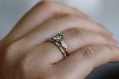 Oval Diamond Ring In A Set On Hand
