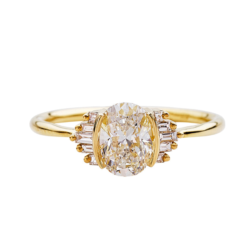 Oval Engagement Ring with Art Deco Baguette Element - 1 carat