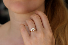 Pear Cut Diamond Crown Ring On Hand