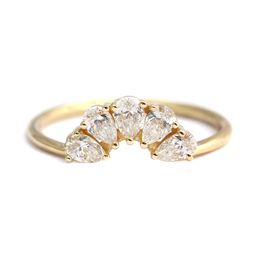 Pear Cut Diamond Crown Ring