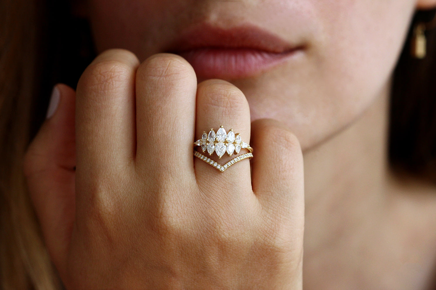 Pear Diamond Cluster Ring In A Set