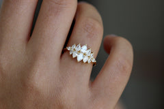 Pear Diamond Cluster Ring On Hand