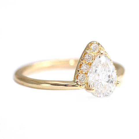 Side View Of Pear Diamond Crown Ring