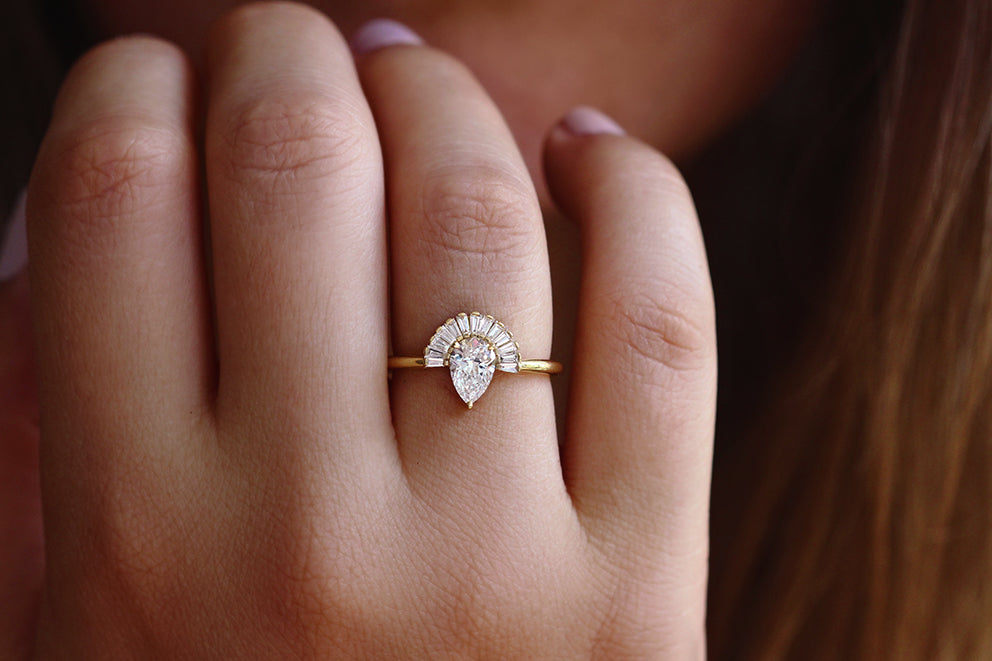 824a723e43980 Pear Diamond Engagement Ring Set with Baguette Diamond Crown and Chevron  Wedding Band