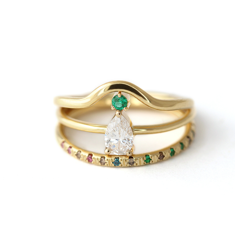 Bohemian Emerald Engagement Ring Set
