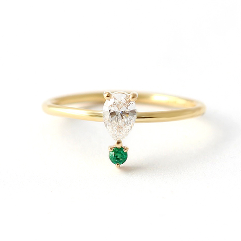 Reverse Pear Cut Diamond with Emerald Engagement Ring