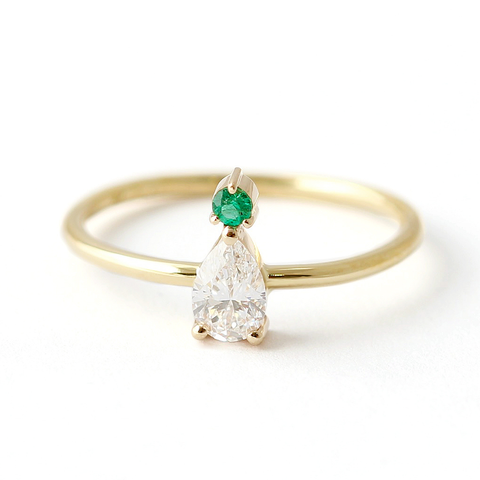 Pear Cut Diamond with Emerald Engagement Ring