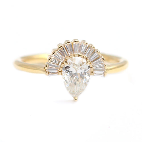 Pear Diamond With Baguette Diamond Crown