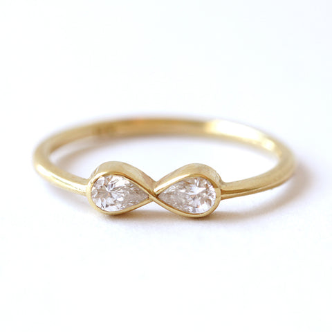 Pear Diamonds Infinity Ring