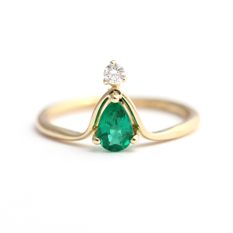 Pear Emerald Engagement Ring