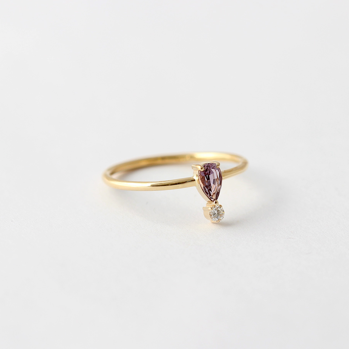 purple sapphire engagement ring round diamond solid gold