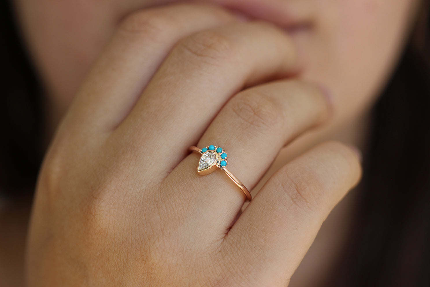 Pear Cut Diamond Ring - Turquoise Crown Diamond Ring on Hand