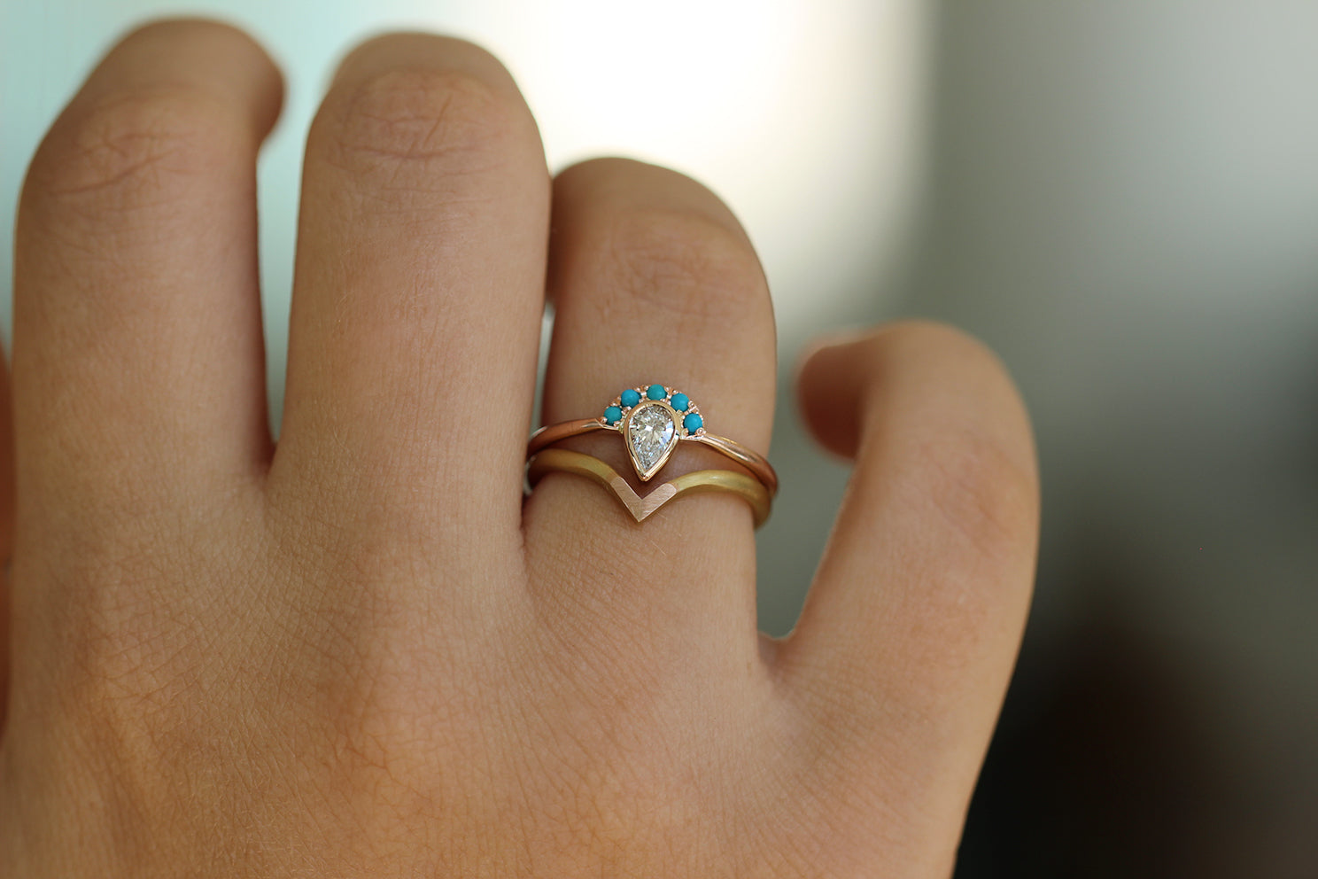 Pear Cut Diamond Ring - Turquoise Crown Diamond Ring in Set