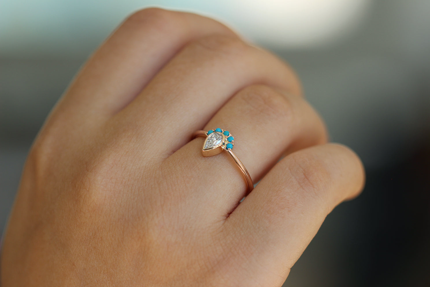 Pear Cut Diamond Ring - Turquoise Crown Diamond Ring Side View on Hand