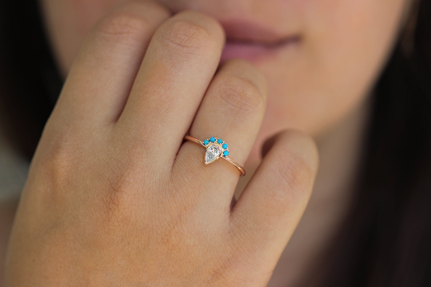 Pear Cut Diamond Ring - Turquoise Crown Diamond Ring Front View on Hand