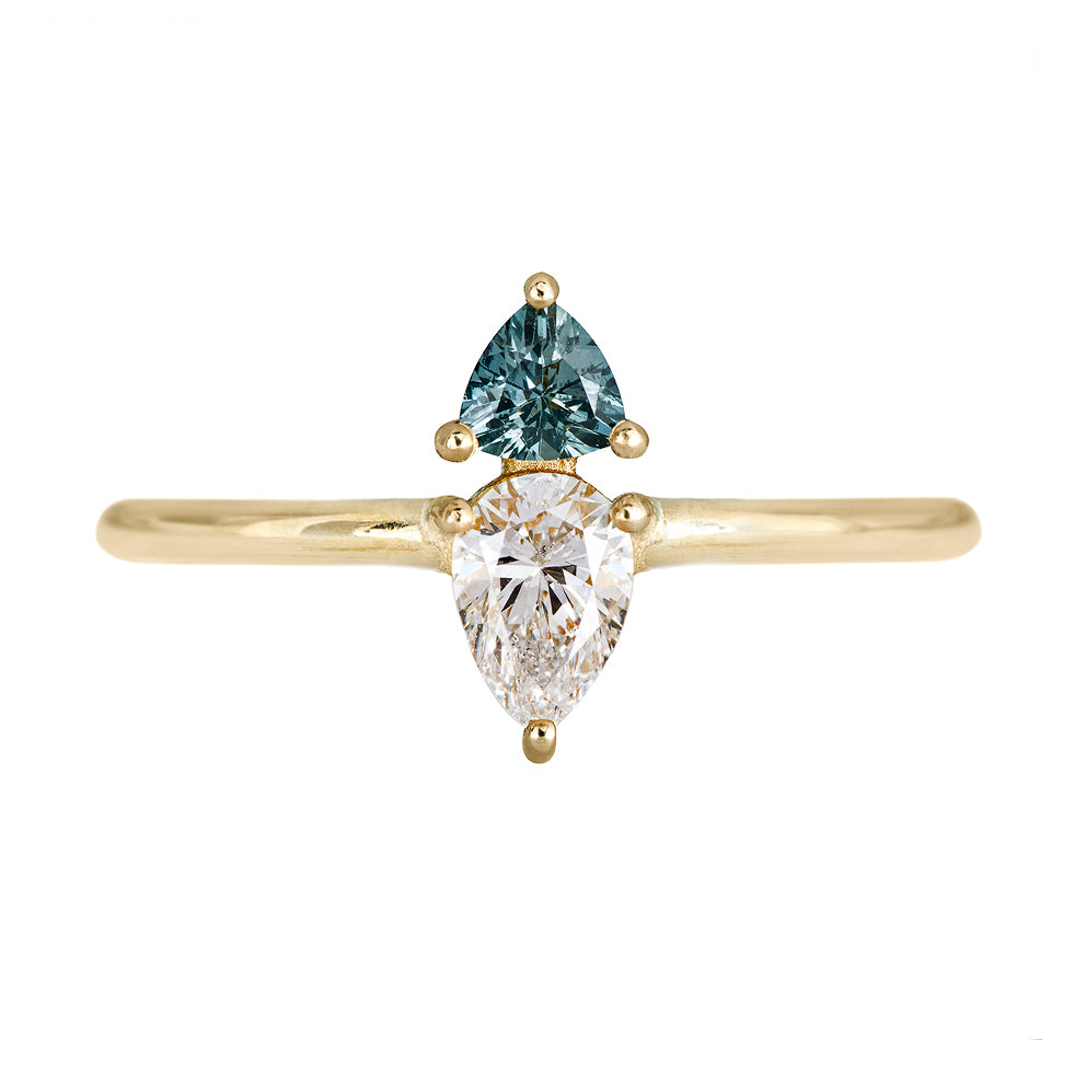 Pear Diamond with Teal Sapphire Engagement Ring