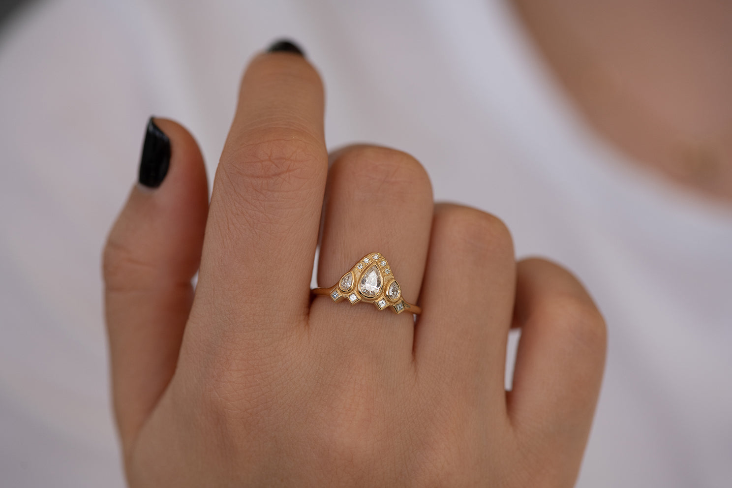 Pear Shaped Diamond Ring on Hand Front View