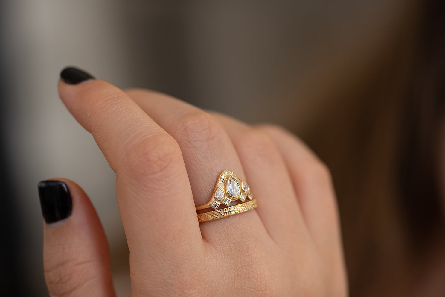 Pear Shaped Diamond Ring on Hand Side View