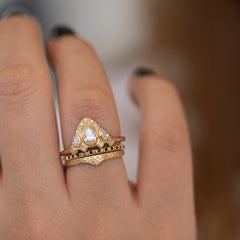 Pear Shaped Diamond Ring on Hand in Set Detail Shot