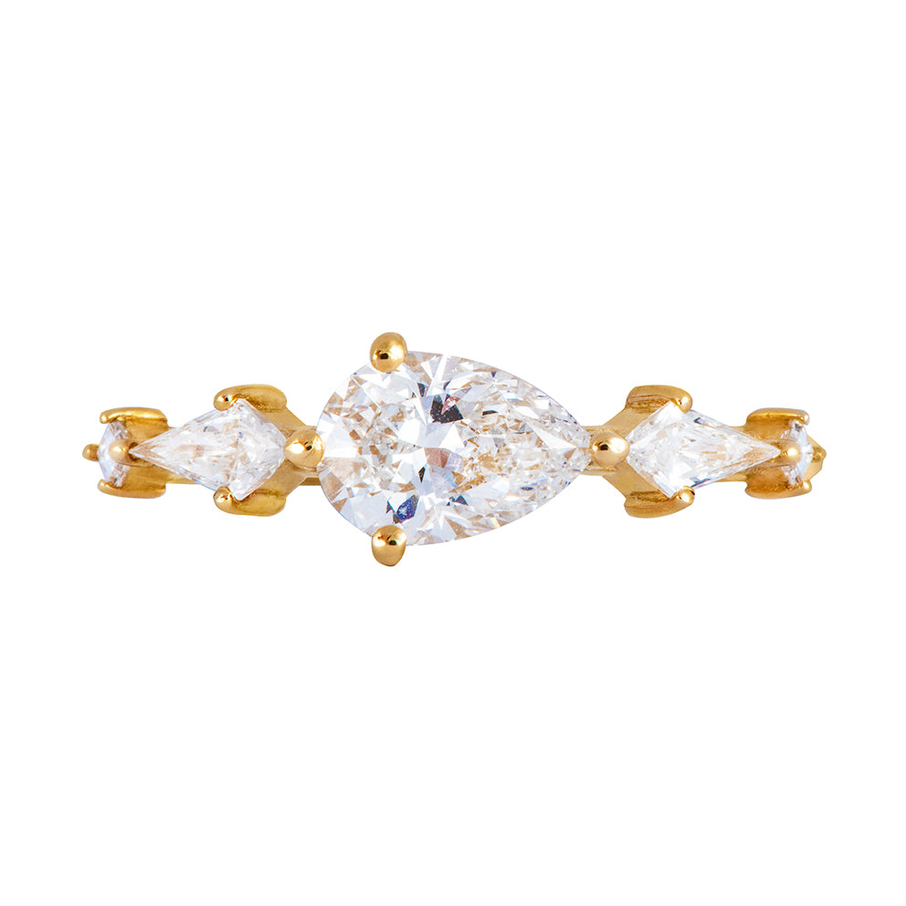 Pear Shaped Engagement Ring - Diamond Lineup Ring
