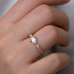 Pear Shaped Engagement Ring - Diamond Lineup Ring Detail Shot on Hand