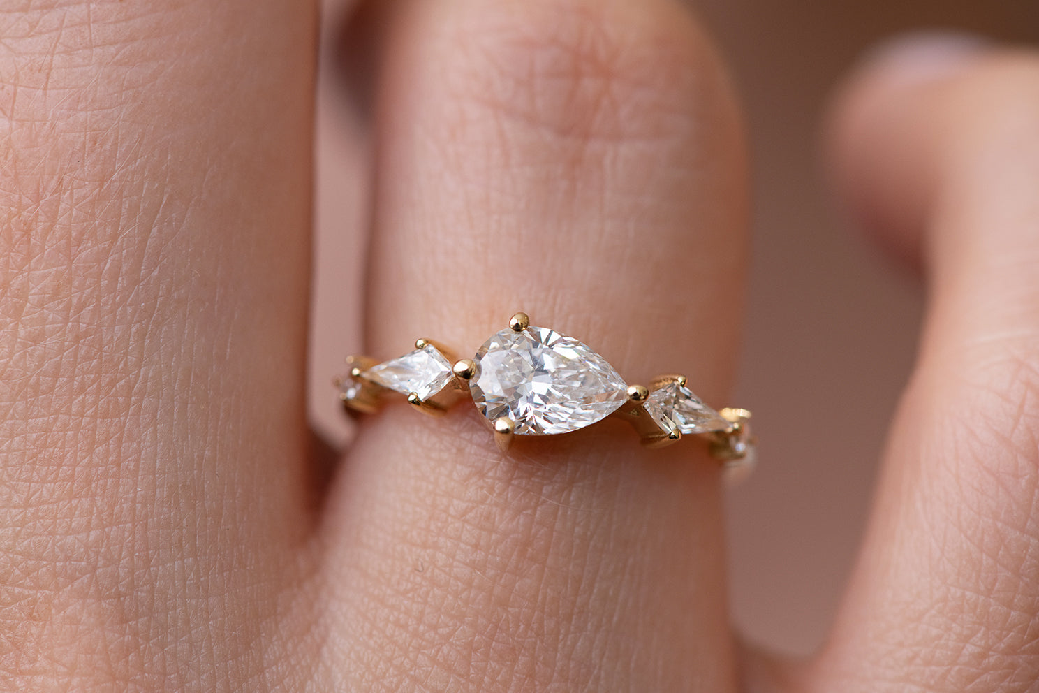 Pear Shaped Engagement Ring - Diamond Lineup Ring Up Close Front View