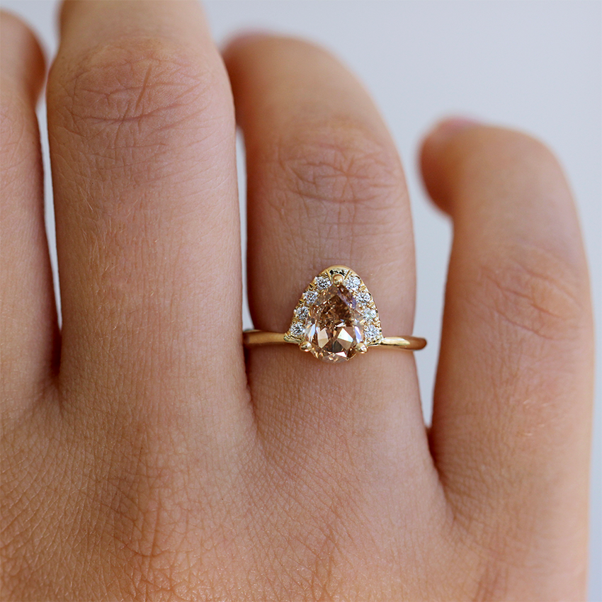 Champagne Diamond Engagement Ring on finger