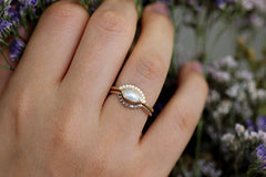 Pearl Engagement Ring In A Set On Hand
