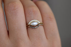 Pearl Engagement Ring In A Set