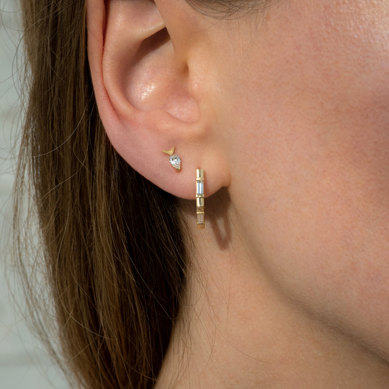 Pentagon-Shaped-Hoop-Earrings-with-Baguette-Diamonds-side-shot-side-closeup-wedding-in-set