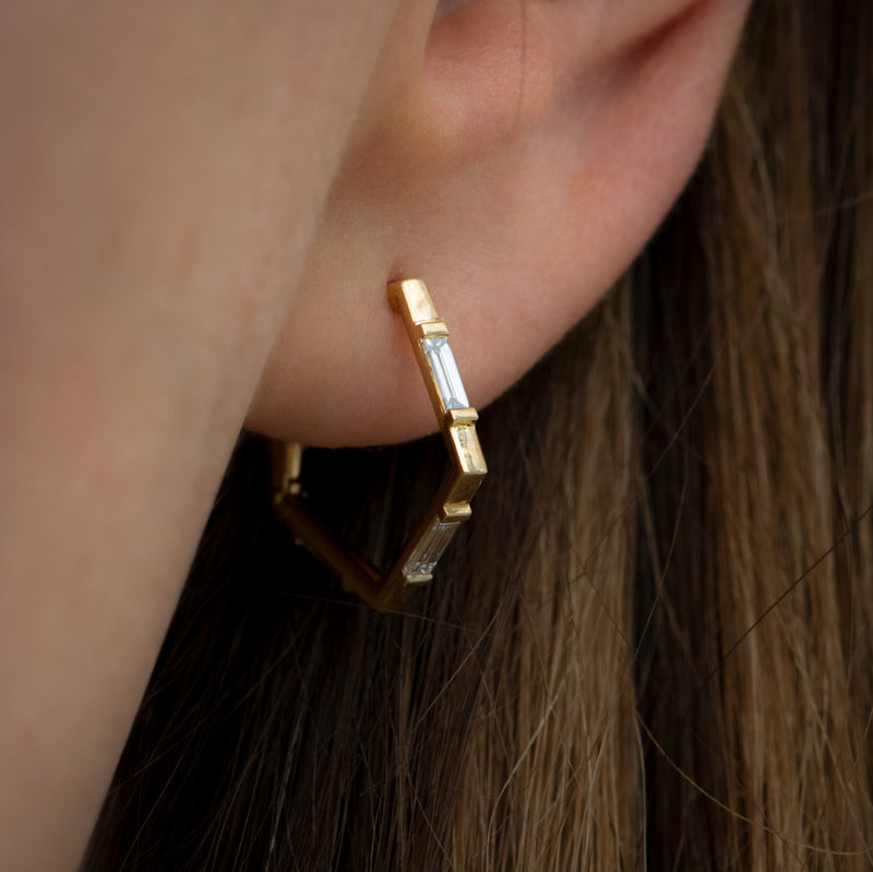 Pentagon-Shaped-Hoop-Earrings-with-Baguette-Diamonds-side-shot-side-closeup