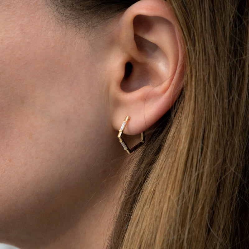 Pentagon-Shaped-Hoop-Earrings-with-Baguette-Diamonds-side-shot