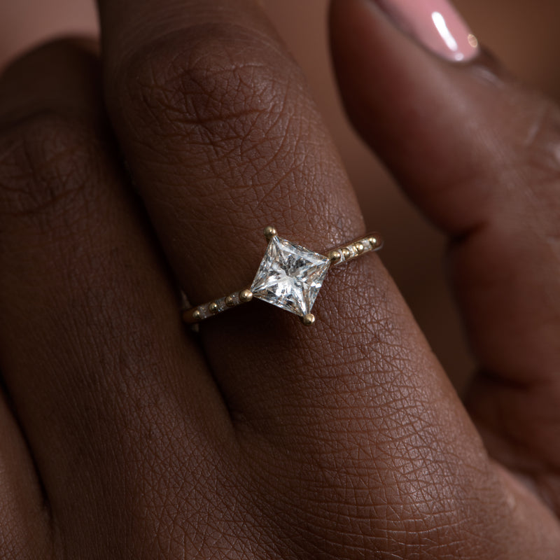 Princess-Cut-Solitaire-Engagement-ring-with-Baguette-Diamond-Detailing-OOAK-top-shot