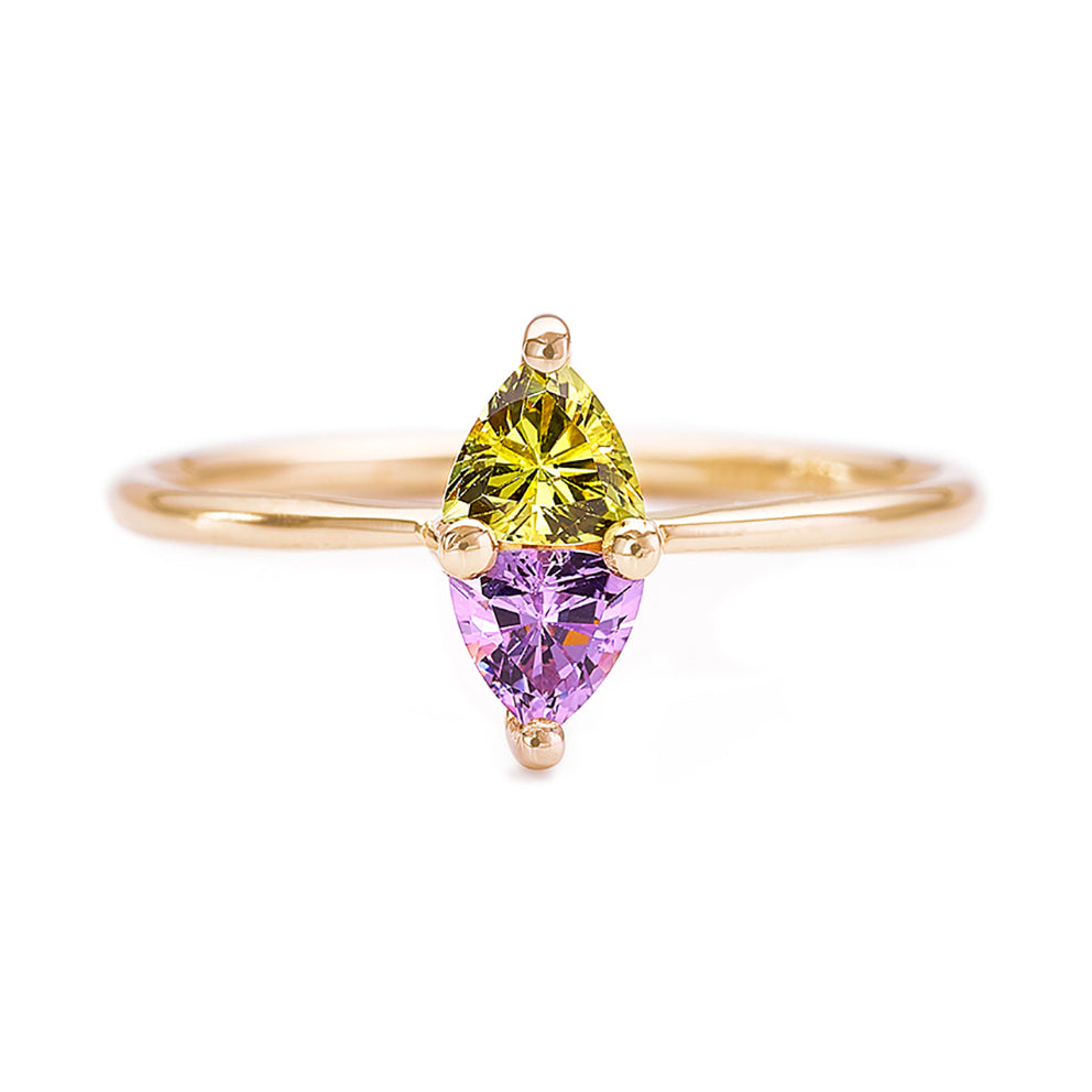 Purple Spinel And Yellow Sapphire Ring - Dainty Geometric Ring
