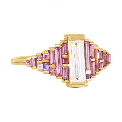 Purple and Lilac Sapphire Ring with Baguette Diamond Side View on White