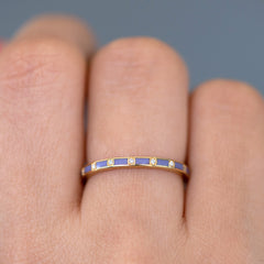 Purple Wedding Ring - Diamond Pattern Ring on Hand detail view