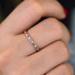 Purple Wedding Ring - Diamond Pattern Ring on side view