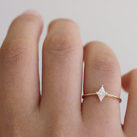 Rhombus Cut Diamond Ring On Hand