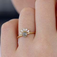 Rose Cut Grey Diamond Engagement Ring On Finger