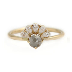 Rose Cut Grey Diamond Engagement Ring