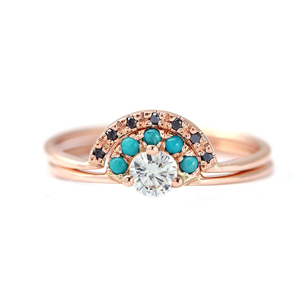Rose Gold Engagement Ring Set with White Diamond, Black Diamond & Turquoise