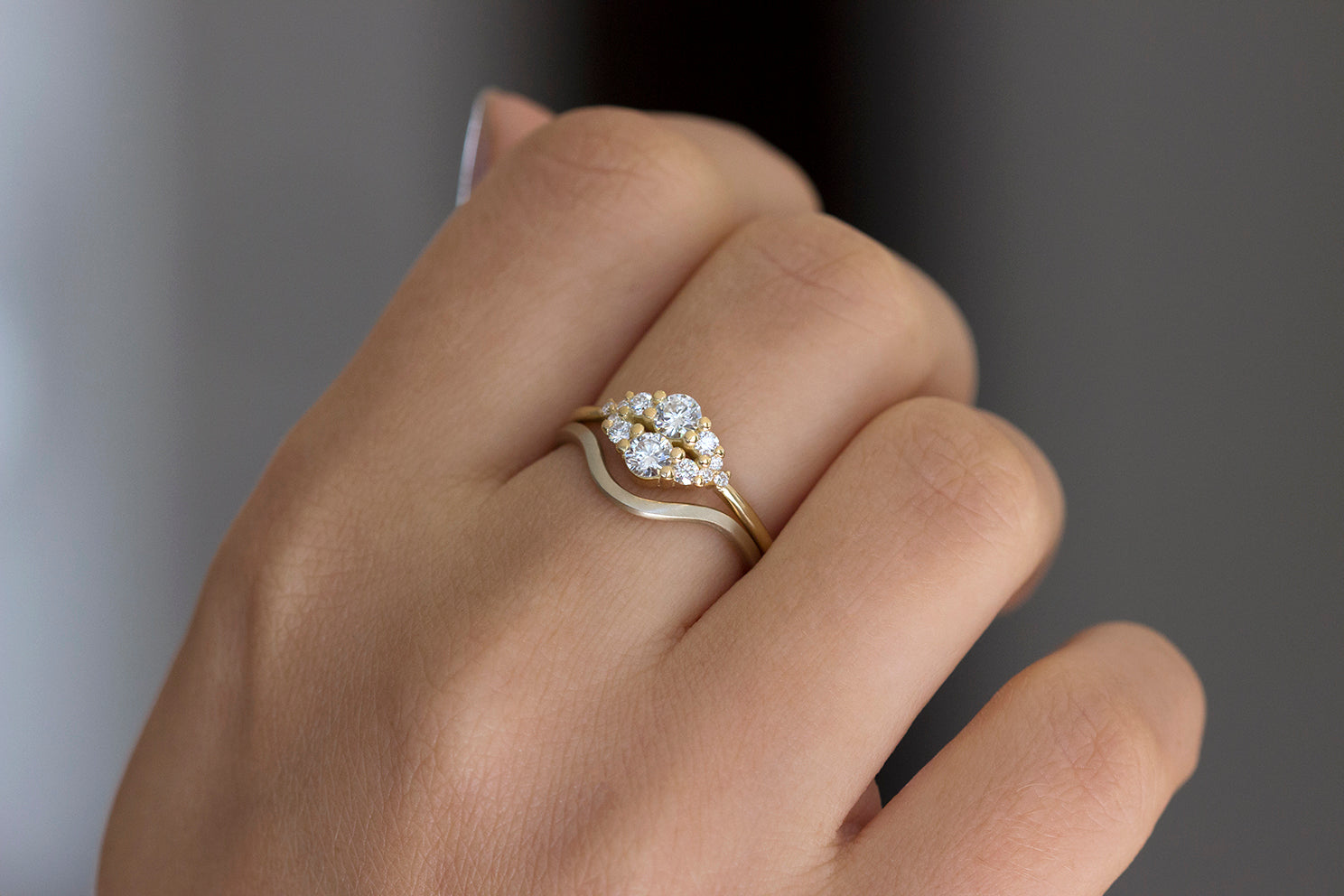 Round Diamond Cluster Ring In A Set