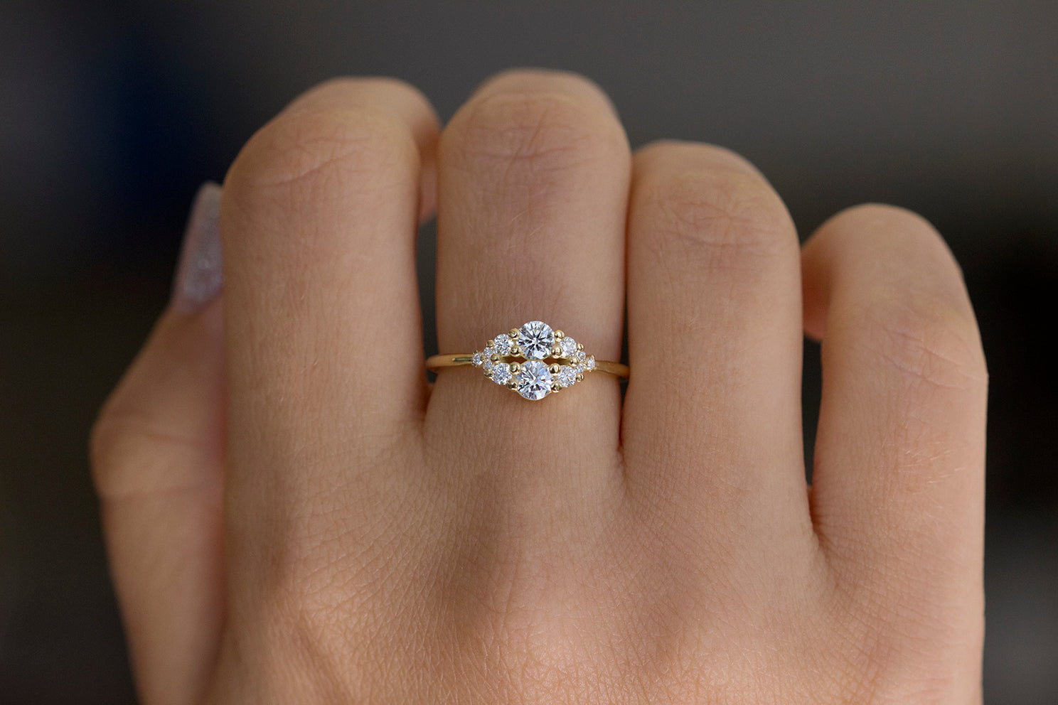 Round Diamond Cluster Ring On Hand
