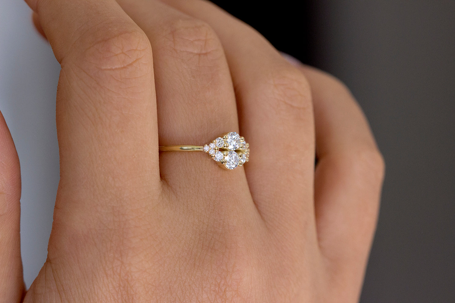 Round Diamond Cluster Ring On Middle Finger