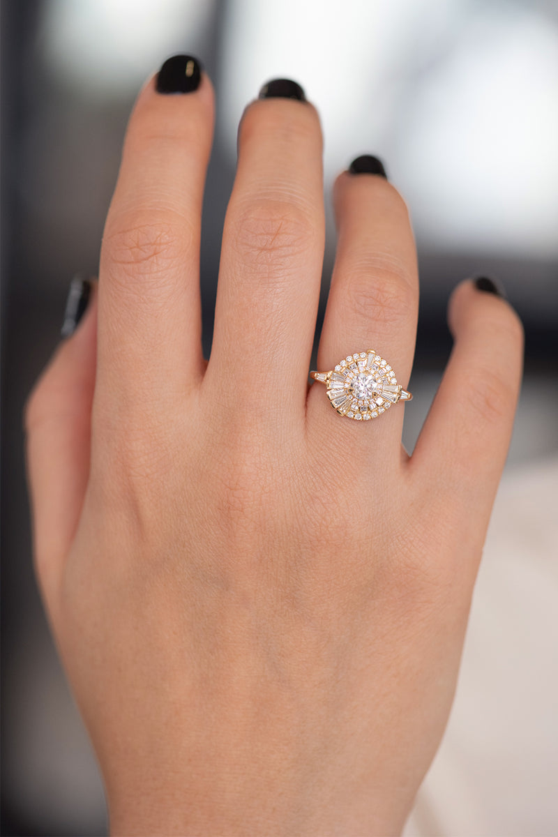 Round Diamond Cluster Ring with Asymmetric Frills on Hand Frontal View