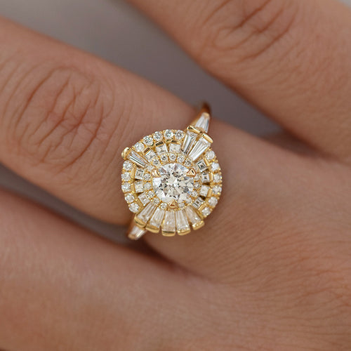 Round Diamond Cluster Ring with Asymmetric Frills on Hand Detail Shot