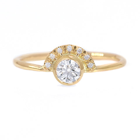 Round Diamond Crown Ring - 0.3 Carat Front View