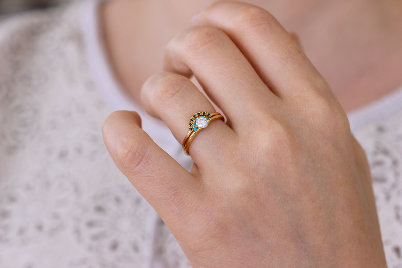 diamond engagement ring with turquoise