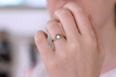 Diamond & Turquoise Ring on finger